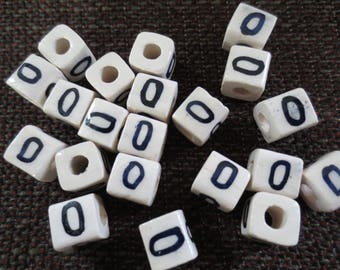 Set of 50 beads O letter or number 0 ceramic Polish