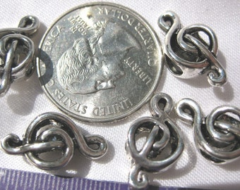Treble Clef Spacer Bead Tibetan Silver Jewelry Supply 5 pieces music theme