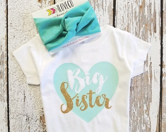 Glitter Big Sister T-Shirt or Bodysuit with matching headband | baby head wrap | baby turban