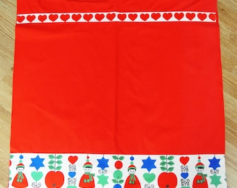 Swedish retro vintage 1950s printed cotton red/ blue/ green design towel curtain with conventionalized Christmas motive