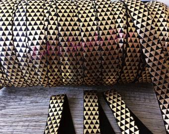 1 yard - Foil Print Black and Gold Aztec FOE - 5/8 Fold Over Elastic - Tribal Foldover Elastic - printed FOE - Elastic by the yard - DIY