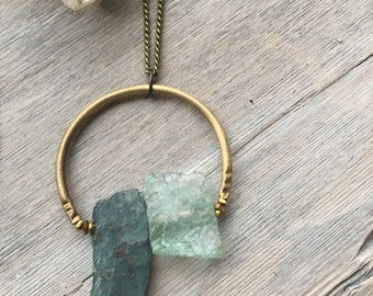 Aquamarine Necklace, Gold Horseshoe Necklace, Layering Necklace, Apatite Necklace, Brass Necklace, Gold Bar Necklace, Circle pendant,