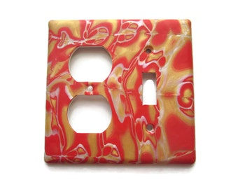 Light Switch Cover, Toggle Switch Plate, Switch and Outlet Plate, Red and Gold with Pearly Accents