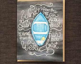 Little Blue Dory / Notecard / Blank Inside / FREE SHIPPING