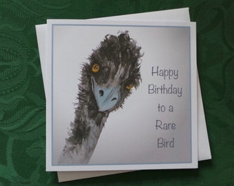 Bird Funny Birthday Greeting Card / Wildlife Greeting Card / Cute Bird Card / Artistic Watercolour Prints Greeting Cards / by Clare