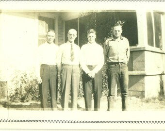 1939 Oliver and His Boys Father Sons Men 30s Vintage Photograph Black White Photo