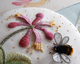 Embroidery Kit - Miniature SWEET HONEYSUCKLE, Raised Embroidery