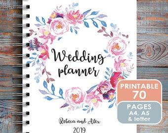Wedding Planner Printable / Printable Wedding Planner / Letter / A5 Inserts / Videographers Organizer / Planner Agenda / Honeymoon Worksheet