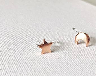 Star Moon Studs Invisible Clip On Ear Cuff Hypoallergenic Earrings # 160