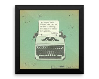 Retro Typewriter bell hooks Quote Framed poster