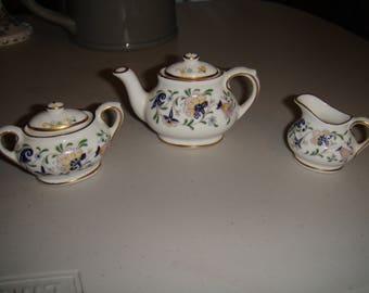 Coalport Mini Teapot, Creamer and Sugar Bowl - Pageant Pattern
