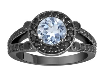 Aquamarine Engagement Ring 14k Black Gold Vintage Style 1.52 Carat Unique Halo Pave Handmade Birth Stone