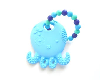 Silicone Teething Toy, Teether Toy, Silicone Teething, Octopus Teether, Blue Silicone Teether, Baby Teething Toy, Baby Shower Gift