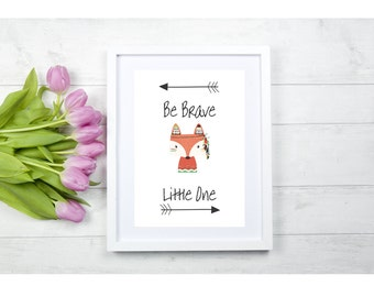 "A ""Be Brave Little One"" Print,Nursery,Child's Room,Wall Art***PRINT ONLY***"