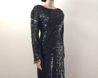 Vtg 80s Fredericks of Hollywood sequin black dress. S