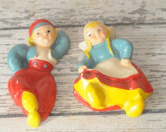 Vintage Chalkware Dancing Dutch Boy and Girl Wall Plaques Plaster Hangings
