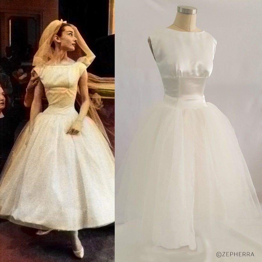 Funny Face Wedding Dress/ Audrey Hepburn Wedding Dress/ 1950s