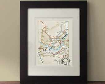 Seoul Map, Vintage Inspired Map, Seoul Wall Art, Rustic Wall Decor