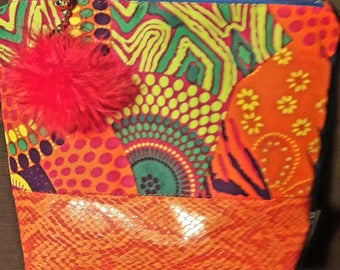 Orange multicolored Kit and Faux Croc