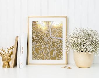 London map gold foil print/ London map/ city art/ city print/ england print/ map print