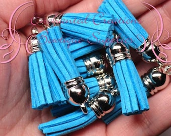 38mm Turquoise Faux Suede Tassel Charms With Silver Top, Graduation Gift, End of School, DIY Keychain, Necklace, Bracelet, Earrings