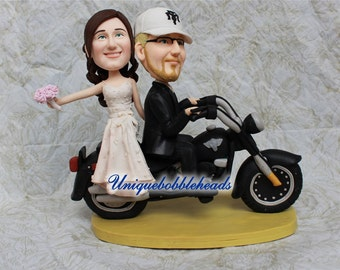 Custom wedding cake toppers motorcycle bride and groom free shipping