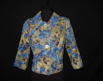 1950s floral cropped jacket vintage blue and green folded collar blouse large