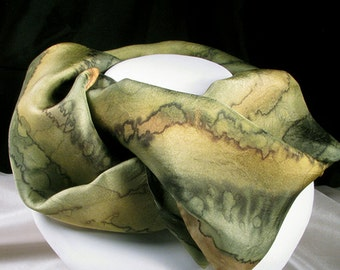 Hand Painted Silk Scarf  - Quintessence Silk - Silk Scarf - Woodland Walk
