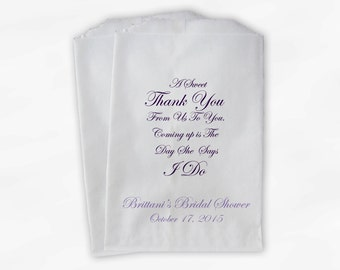 Sweet Thank You Bridal Shower Candy Buffet Treat Bags - Set of 25 Purple Personalized Favor Bags with Bride's Name and Shower Date (0151)