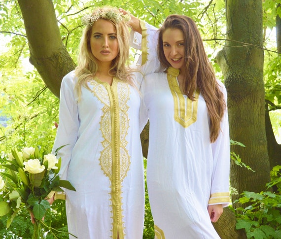 Set of 2 White with gold Moroccan caftan-Bride & Bridesmaid, Ramadan, Eid