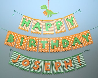 Dinosaur Happy Birthday Banner • PRINTED