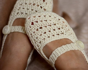 Crochet PATTERN - Ladies Milky Slippers