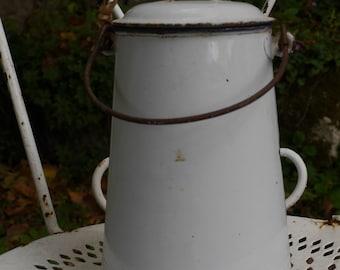 Vintage French Enamel Milk Can