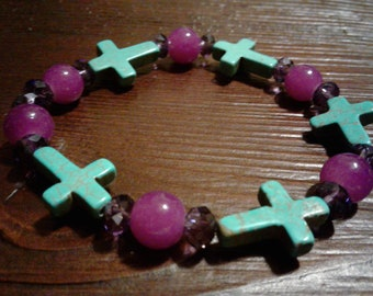 Turquoise Cross with purple beads