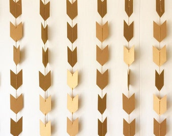 Antique Gold Arrow Garland - Holiday Decor - Valentines Decor -Wedding Bunting -Nursery Decor