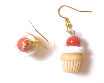 Earrings - cherry cupcake and chantilly polymerclay