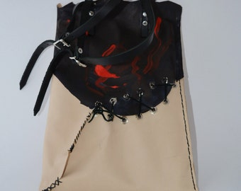 """Wounded 13"""" Laptop Leather Tote in Black, Red and Cream"""