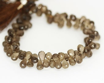 """Smoky Quartz Faceted Briolette Tear Drop Gemstone Beads Strand 9mm 10mm 9"""" - Jewelry Making"""