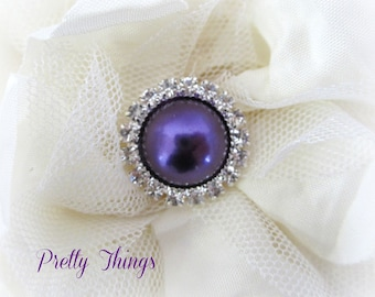Purple Pearl and Rhinestone Buttons. QTY: 3 buttons.