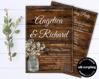 Rustic Wedding Program Template - Printable Wedding Program - Editable Program - Instant Download Ceremony Program - Rustic Wedding Programs
