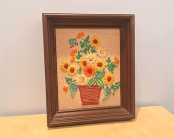 Vintage Framed Floral Embroidered/Crewel Artwork