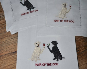 Embroidered white Linen Hemstiched Cocktail Napkins, fun cocktail napkins  embroidered with a labrador, gift