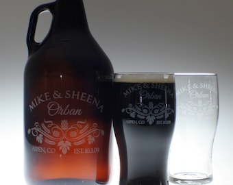 Personalized Beer Growler and 2 glass set with Hop Leaf Couple art , wedding gift , personalized growler, custom Beer Glass, Beer Gift, Beer
