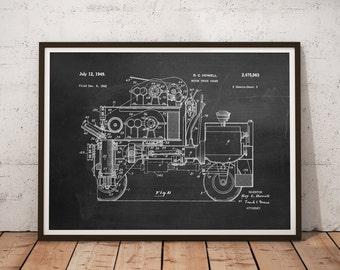 Motor Truck Crane Patent Print, Crane Patent, Man Cave Decor, Truck Patent - DA0447