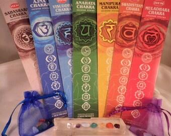 Micro-mini Chakra Bag and Corresponding Chakra Incense Set - 7 stones plus 7 packs of Incense