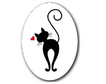 18x25mm, black cat and heart
