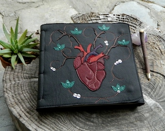 RESERVED Anatomical Heart Leather Diary Healing Diary Art Journal With Turqoise Lotus Flower Detailing Plant Medicine