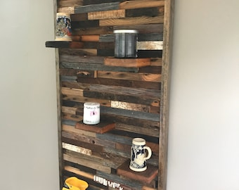 Rustic Wall Art With Shelves Handmade Of  Reclaimed Barn Wood, Rustic Wall Decor,  Wood Wall Art,  Wall Sculpture, Barn Wood