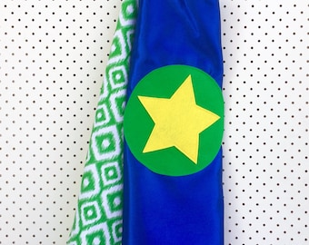 Kids Superhero Cape - Blue with Green pattern