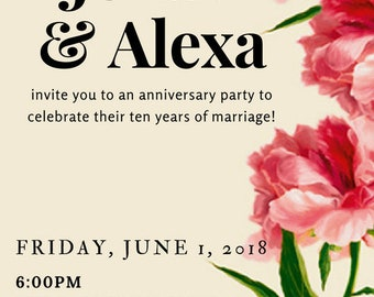 Red and Tan Side Floral Invitation
